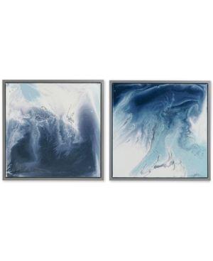 Madison Park Blue lagoon 2 Gel Coat Framed Canvas 2 piece Set  Retail 95 27