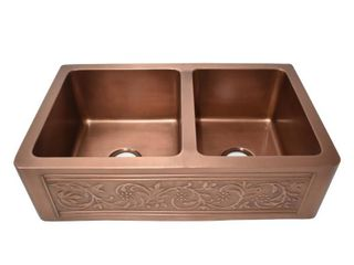 Versailles Farmhouse Pure Copper 33 in  55 45 Double Bowl Kitchen Sink with Bottom Grid and Strainer Retail 915 49