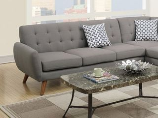 2 Pcs Grey Polyfiber Sectional Sofa with Chaise