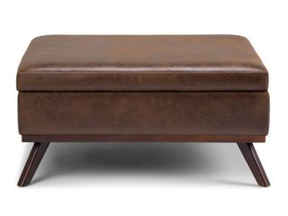 WYNDENHAll Ethan 36 inch Wide Mid Century Modern Square Table Ottoman  Retail 289 99 Minor Cut on Fabric Underside