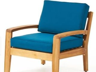 Grenada Outdoor Wood Chair with Cushions by Christopher Knight Home