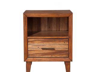 Origins by Alpine Trinidad Wood 1 Drawer Nighstand in Toffee  Brown