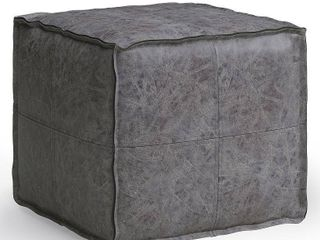 Simpli Home Brody Transitional Faux leather Square Pouf in Distressed Black