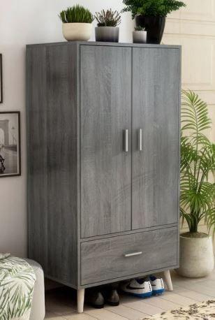 Carson Carrington Gjovik Contemporary Distressed Grey Wardrobe Armoire   Retail 417 00