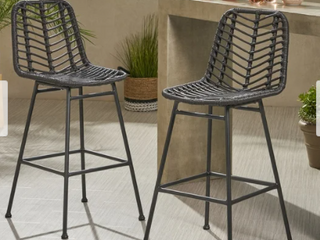 Sawtelle Outdoor Wicker Barstool by Christopher Knight Home  Retail 459 99