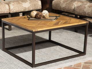 Black Natural Wood Outdoor Coffee Table