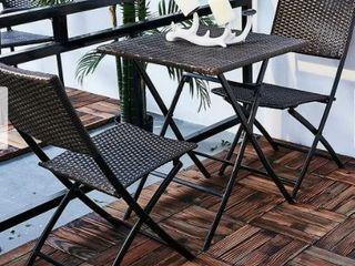 3 Piece Outdoor Wicker Folding Bistro Set Hl PW3001
