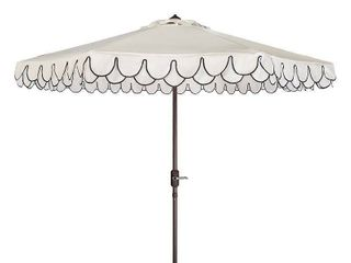 Safavieh Elegant 9  Market Auto Tilt Patio Umbrella  White Black