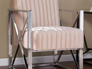 Ellison Velveteen Accent Chair  Champagne with Chrome
