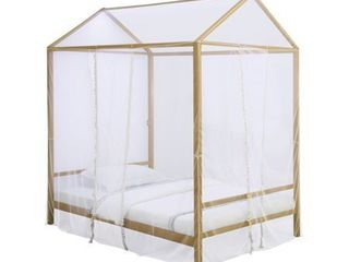 Altadena Full Canopy Bed with lED lighting Matte Gold
