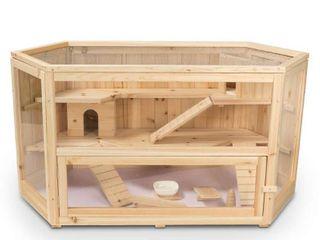 AlEKO Deluxe Fir Wood 3 Tier Hamster Cage   large