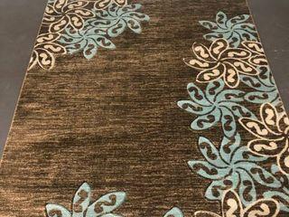 Glamour Brown Turquoise Polypropylene Area Rug 5x8