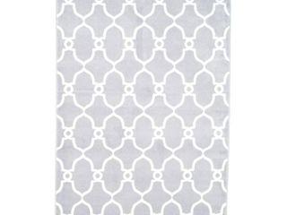 lavish Home lattice Area Rug  8  by 10  Grey Ivory