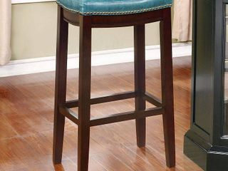 Padded Saddle Seat Barstool Hardwood Blue   linon