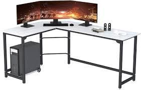 SZXKT l Shaped Desk Home Office Corner Desk Computer Table Sturdy Gaming Desk Writing Desk Workstation White