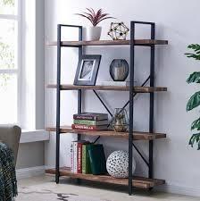 Homissue HlBS 17004BN 4 Tier Industrial Style Bookshelf