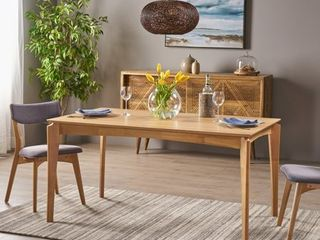 Christopher Knight Home Alma Dining Table  Rubberwood with Walnut Veneer  Mid Century  Natural Oak Finish