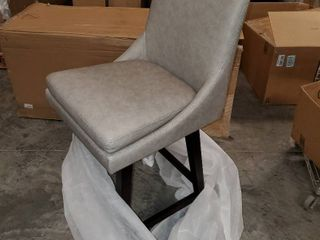 CHITA Counter Height Swivel Barstool  Upholstered leather Bar Stool  26  H Seat Height  Stone Grey