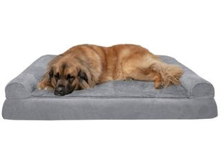 Furhaven Pet Dog Bed   Orthopedic Ultra Plush Faux Fur and Suede Traditional Sofa Style living Room Couch Pet Bed with Removable Cover for Dogs and Cats  Gray  Jumbo Plus