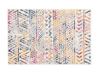 World Rug Gallery Geometric Distressed Bohemian 5 ft  x 7 ft  Multi Area Rug