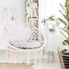 Ohuhu Hammock Chair Hanging Chair Swing with Soft Cushion   Durable Hanging Hardware Kit  100  Cotton Rope Indoor Macrame Swing Chairs for Bedrooms  Great Gifts for Girls Kids Birthday