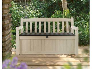 Keter Eden Outdoor Resin Storage Bench  All Weather Plastic Seating   Storage  70 Gal  Beige Brown
