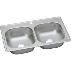 Dayton Stainless Steel DSE233191 33  x 19  x 8  Equal Double Bowl Top Mount Sink