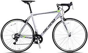 Hiland Vernier Road Bike Steel 700C Racing Bicycle for Men Urban City Commuter Bike Shimano 14 Speed Bike Silver 54cm