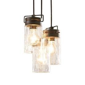 allen   roth Vallymede 9 84 in Aged Bronze Farmhouse Multi light Clear Glass Jar Pendant RETAIl 119 98