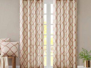 95 x50  Sereno Fretwork Print light Filtering Curtain Panel Beige Spice