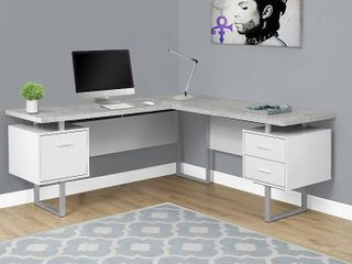 Monarch Specialties Computer Desk left or Right Facing White   Cement look 70 l RETAIl  548 00