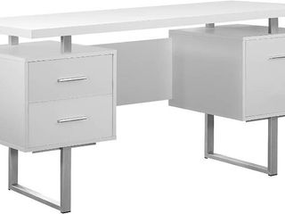 Monarch Specialties White Hollow Core Silver Metal Office Desk  60 Inc RETAIl  307 99