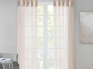 Madison Park Elowen White Twist Tab Voile Sheer Curtain Panel Pair 50W X 84l