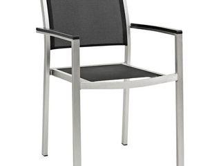 Black Mesh and Aluminum Patio Chair