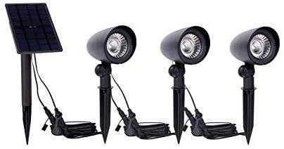 Black Spotlights lED Solar 25 lumens 3 Pk