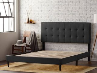 Upholstered Bed Frame w  Tufted Headboard   Queen
