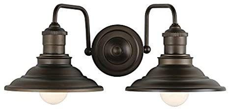 Allen   Roth Hainsbrook 2 light Vanity light Fixture Aged Bronze