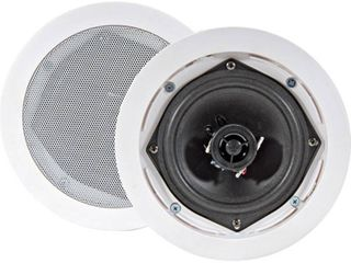 Pyle PDIC81RD In Wall   In Ceiling Dual 8 Inch Speaker System  2 Way  Flush Mount  White  Pair