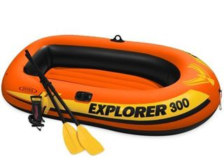 Intex Explorer 300 Compact Inflatable Fishing 3 Person Raft Boat w  Pump   Oars