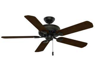 Casablanca 54002 Ainsworth 54 Inch Ceiling Fan with Five Espresso Smoked Walnut Blades  Basque Black