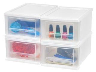 IRIS 4pk 7qt Plastic Storage Stacking Drawer