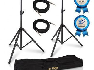 PYlE PMDK102   Stage   Studio DJ Speaker Stand Kit   Pro Audio PA loudspeaker Stands   Audio Cable  Storage Bag  1 4  inch Connector