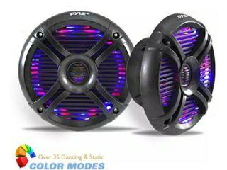 Pyle Hydra Dual 6 5  Waterproof Marine Grade Speakers  Built in Multi Color lED lights  250 Watt  Pair  Black