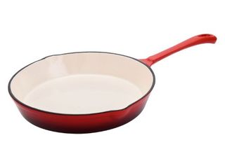 Hamilton Beach 8 Inch Enameled Coated Solid Cast Iron Frying Pan Skillet  Red