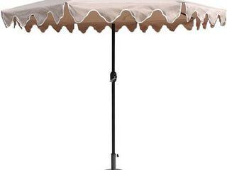 Pebble lane living Exclusive Scalloped Patio Umbrella with Tilt  9 Feet  Tan