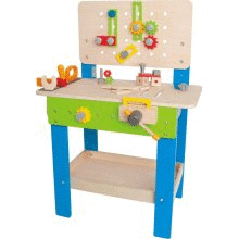 Hape Wooden Child Master Tool and Workbench Toy Pretend Builder Set for Kids 3
