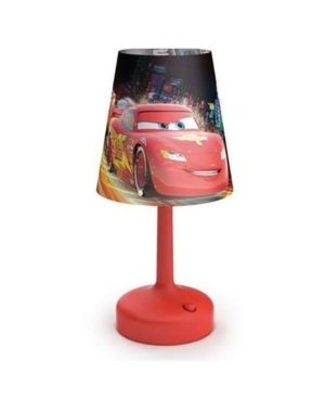 Philips Disney Cars Indoor Portable 10 Inch Kids Table lamp with Shade  Red