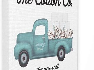 Toilet Paper Cotton Co Delivery Truck Bathroom Art  Design by Artist lettered and lined Wall Art  16 x 20  Canvas   Needs Repair  RETAIl  44 99