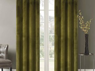 Roslynwood Velvet Room Darkening Curtains  Thermal Insulated Grommet Window Drapes  Olive Green   2 Panels 52  W x 96  l   RETAIl  48 99
