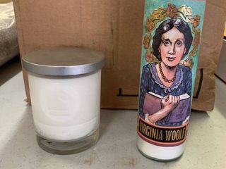 lOT OF 2 Candles  Virginia Woolf  Secular Saints    Great Gift     Timber  Scent